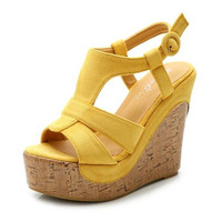 Sandals Small Size 32 33 Bohemian Shoes Thick Bottom Wedges Open Toe Sandals Ankle Strap