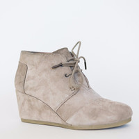 Toms Taupe Suede Wedge