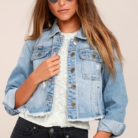 Your Move Light Wash Distressed Denim Jacket