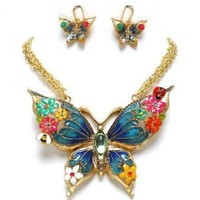 Extra Large Multi Color Butterfly Flowers Statement Pendant Necklace Earrings Set