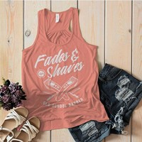 Women's Barber Flowy Tank Fades & Shaves Vintage Razor Tanks For Hipster Barbers Racerback