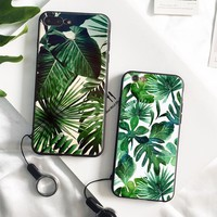 Palm tree Leaves pattern soft silicone Phone Case cover Shell For Apple iPhone 5 5S SE 6 6S 6Plus 6sPlus 7 7Plus 8 8Plus X