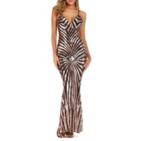 Fashionable sexy sequined long dress with deep V-collar stretch pull-down dress