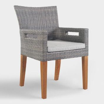Gray All Weather Wicker Hakui Armchairs Set of 2