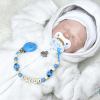 Personalized Pacifier Holder With Baby Name, Dummy, Soother, Binky Holder Clip,Wood Beads, Nice Gift for Shower!
