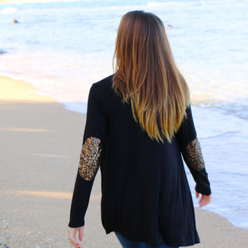 Sequin Elbow Patch Cardigan in Black - Last One!