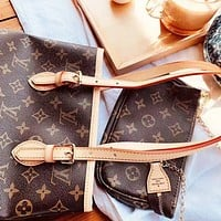 LV Louis Vuitton New Fashion Monogram Print Leather Shoulder Bag Women Handbag Bucket Bag Two Piece Suit Bag