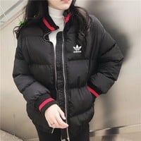 """""""Adidas"""" Women Casual Fashion Multicolor Stripe Long Sleeve Zip Turtleneck Cotton-padded Clothes Coat"""