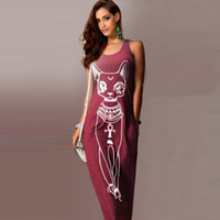Cartoon Cat Cutton Maxi Dress