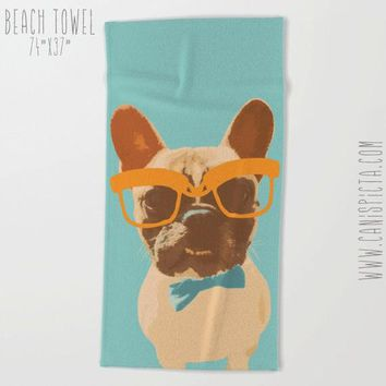 Hipster Puppy Towel French Bulldog Bath Beach Frenchie Dog Terry Hand Bathroom Decor Gift Unique Glasses Bowtie For Pet Animal Fun Nerd Geek