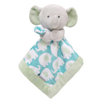 Carter's Grey/Turquoise Elephant Security Blanket with Plush