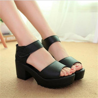 Free shipping HOT selling 2015 women's summer high-heeled shoes thick heel open toe platform sandals platform sandals white