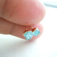 Raw Apatite Stud Earrings - Neon Blue -Raw Stone