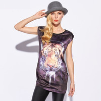 Black Tiger Print Sleeveless Shirt