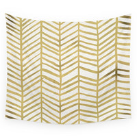 Society6 Gold Herringbone Wall Tapestry