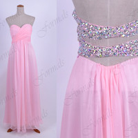 Strapless Sweetheart Long Chiffon Pink Prom Dresses, Evening Gown, Wedding party Dresses, Formal Gown