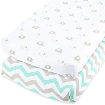 """Cuddly Cubs Changing Pad Covers – 2 Pack – Snuggly Soft Plush Cotton Changing Table Covers for Boy, Girl – Fits Perfectly on Summer Infant and Other 16 x 32"""" Baby Changing Table Pads – Grey Elephants"""