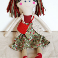 Rag Doll,  Stuffed Doll for Girl, Birthday Gift, Fabric Cotton Doll, Gift for daughter, Green Red Colors, 18 inch Doll, Handmade Ooak Doll
