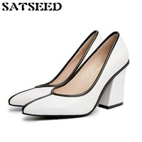 Fashion 2018 New Women Pumps Super High Heels Genuine Leather Pigskin Shoes Square Heels Work Shoes Women Shoes Dress Shallow