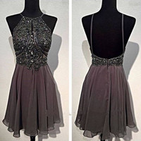 short Prom Dress,beading Prom Dress,gray Prom Dress,homecoming dress,cheap prom dress,PD207