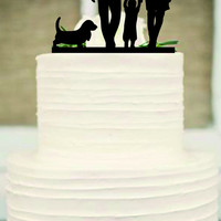 Silhouette Wedding Cake Topper, funny Wedding Cake Topper,Bride and Groom and little boy a dog family wedding cake topper,Rustic cake topper