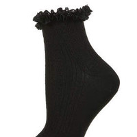 Black Lace Trim Ankle Socks - Black