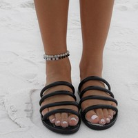Traveler Black Slip On Sandal