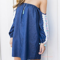 Daisy Denim Embroidered Off The Shoulder Dress