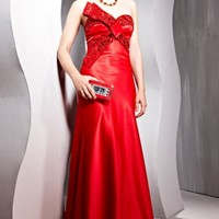 Stunning Couture Red Off Shoulder Satin Evening Dress - 4566012