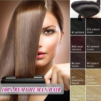 """1Pcs 7 Pieces 15 Clips 16""""-22"""" 65g-80g Fashion 100% Remy Human Hair Extensions Real Full Head Long Straight"""