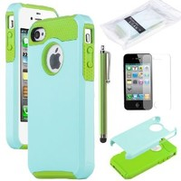 iPhone 4S Case, iPhone 4 Case, ULAK Fashion Armor Case for iPhone 4S and iPhone 4 Cover with Screen Protector and Stylus (Light Blue/Green)