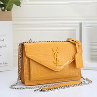 YSL Yves Saint Laurent Hot Sale Ladies Crocodile Leather Pattern Tote Bag Fashionable All-match Shoulder Bag Chain Messenger Bag