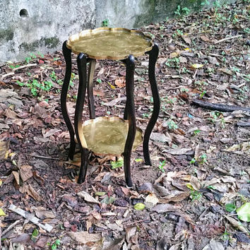 Vintage Brass Tray Table Brass Two Tier Made in Hong Kong