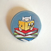 """Adventure Time - Reading is Rhombus! 1x1.5"""" pinback button badge from Stickerama"""