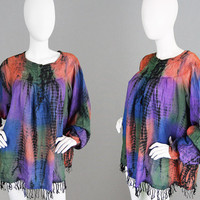 Vintage 70s Indian Blouse Tie Dye Top 1970s Hippie Top Fringe Tassel Smock Top Oversized Shirt Made in India Cotton Blend Summer Festival