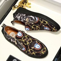 VERSACE counter 2018 new 3D printing men's thick floor shoes F-OMDP-GD