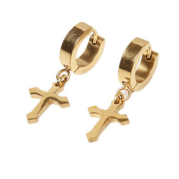 Ear Accessories 4Colors s Titanium Steel Ear Clip Women Men Cross Shaped Ear Stud Earrings SM6