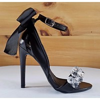 "Cape Lola 19 Black Satin Back Bow Jeweled Toe Strap 4.5"" High Heel Sandal Shoes"