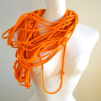 Tangerine Infinity Scarf Womens Bright Orange Cowl Scarf Upcycled Clothing Circle Scarf Eco Friendly Winter Accessories