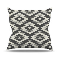 "Amanda Lane ""Navajo Black Cream"" Tribal Geometric Throw Pillow, 16"" x 16"" - Outlet Item"