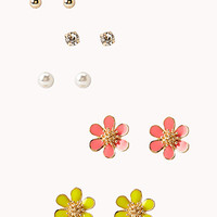 FOREVER 21 Lacquered Floral Stud Set Gold/Yellow One