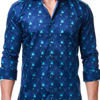 Luxor Triangle Green Navy | Dress Shirt by MACEOO