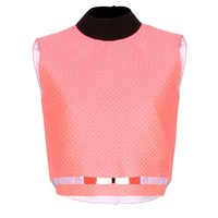 Victoria Beckham NEW ARRIVAL CRUISE WOOL AND SILK-BLEND CROPPED JACQUARD TOP