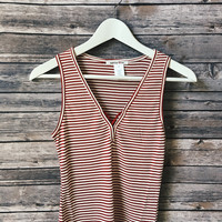 Red Striped Ribbed Tank