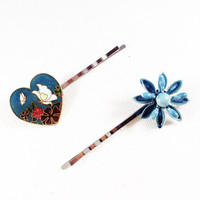 Flower hair pin, blue flower hair pins, blue flower bobby pin, flower bobby pins, blue flower hair clip, flower hair clips, heart hair pin