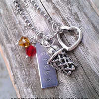 Hand Stamped Personalized Necklace with Name, Metal Alloy Heart, Hanging Basketball Net Charm and Crystal Beads School Colors