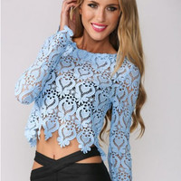 Light Blue Round Neckline Long Sleeve Sheer Lace Crop Top