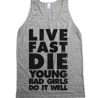 Live Fast Die Young-Unisex Athletic Grey Tank