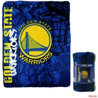 "Licensed Official New Northwest NBA Golden State Warriors Large Soft Fleece Throw Blanket 50""X60"""