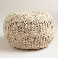Taupe Heather Sweater Pouf